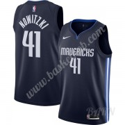 Billige Basketball Trøje Børn Dallas Mavericks 2019-20 Dirk Nowitzki 41# Marine blå Finished Statement Edition Swingman