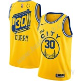 Billige Basketball Trøje Børn Golden State Warriors 2019-20 Stephen Curry 30# Gul Finished Hardwood Classics Swingman