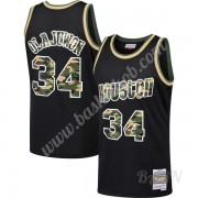 Billige Basketball Trøje Børn Houston Rockets 1993-94 Hakeem Olajuwon 34# Sort Straight Fire Camo Sw..