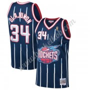 Houston Rockets Basketball Trøjer NBA 1996-97 Hakeem Olajuwon 34# Marine blå Hardwood Classics Swing..