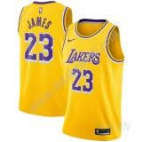 Billige Basketball Trøje Børn Los Angeles Lakers 2019-20 LeBron James 23# Guld Icon Edition Swingman