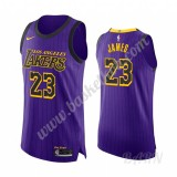 Billige Basketball Trøje Børn Los Angeles Lakers 2019-20 LeBron James 23# Lilla City Edition Swingman