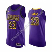Los Angeles Lakers Basketball Trøjer NBA 2019-20 LeBron James 23# Lilla City Edition Swingman..