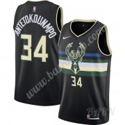Billige Basketball Trøje Børn Milwaukee Bucks 2019-20 Giannis Antetokounmpo 34# Sort Finished Statem..