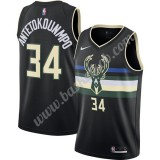 Milwaukee Bucks Basketball Trøjer NBA 2019-20 Giannis Antetokounmpo 34# Sort Finished Statement Edition Swingman