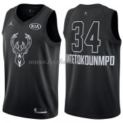 Milwaukee Bucks Giannis Antetokounmpo 34# Sort 2018 All Star Game Swingman Basketball Trøjer..