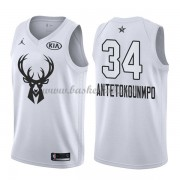 Milwaukee Bucks Giannis Antetokounmpo 34# Hvid 2018 All Star Game Swingman Basketball Trøjer..