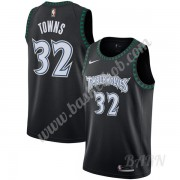 Billige Basketball Trøje Børn Minnesota Timberwolves 2019-20 Karl-Anthony Towns 32# Sort Hardwood Cl..