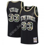 New York Knicks Basketball Trøjer NBA 1991-92 Patrick Ewing 33# Sort Straight Fire Camo Swingman..