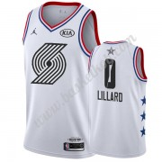Portland Trail Blazers 2019 Damian Lillard 0# Hvid All Star Game Swingman Basketball Trøjer..