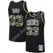 Billige Basketball Trøje Børn Boston Celtics Larry Bird 33# Sort Straight Fire Camo Swingman..