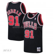 NBA Basketball Trøje Børn Chicago Bulls Kids 1997-98 Dennis Rodman 91# Sort Hardwood Classics..