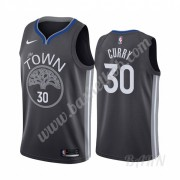 Billige Basketball Trøje Børn Golden State Warriors 2019-20 Stephen Curry 30# Sort City Edition Swin..