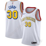 Billige Basketball Trøje Børn Golden State Warriors Stephen Curry 30# Hvid Finished Hardwood Classics Swingman
