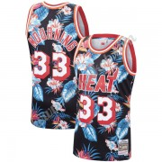 Miami Heat Basketball Trøjer NBA 1996-97 Alonzo Mourning 33# Blomster Mode Hardwood Classics Swingma..