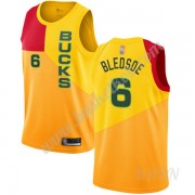 Billige Basketball Trøje Børn Milwaukee Bucks 2019-20 Eric Bledsoe 6# Gul City Edition Swingman..